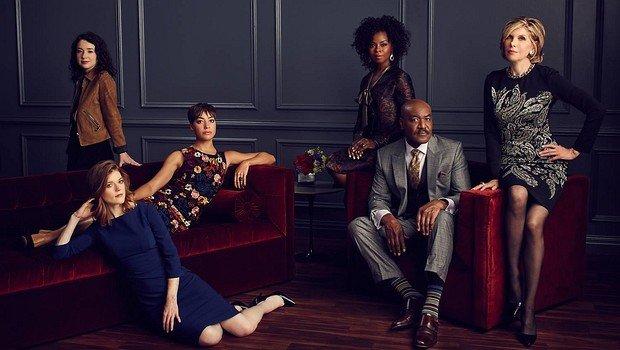 """Der Cast der Serie """"The Good Fight"""": (v.l.) Sarah Steele, Rose Leslie, Cush Jumbo, Erica Tazel, Delroy Lindo und Christine Baranski"""