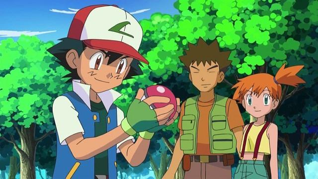 Ash, Rocko und Misty – das Dreiergespann der ersten Staffeln © The Pokémon Company