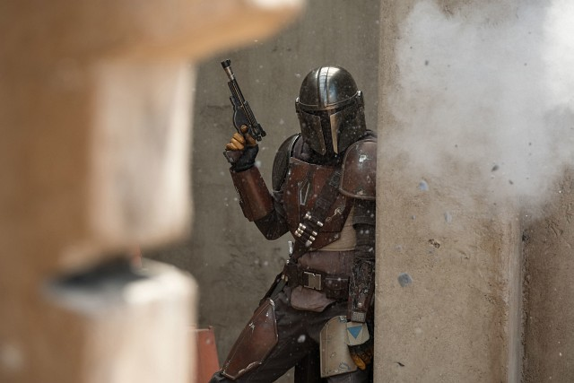 The Mandalorian (Pedro Pascal) in action Lucasfilm