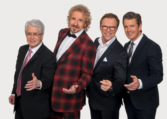 """Die vier Moderatoren der """"Wetten, dass..?""""-Geschichte: Frank Elstner, Thomas Gottschalk, Wolfgang Lippert und Markus Lanz (Bild: ZDF/Svea Pietschmann)"""